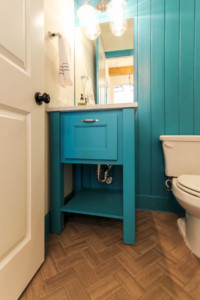 Turquoise bathroom vanity with MW6 frame mitered door by TaylorCraft