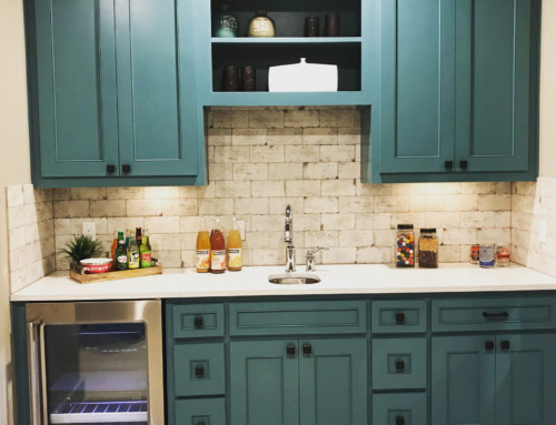 Wet Bar Blue-Green Cabinets