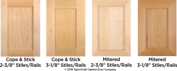 "2-3/8"" standard vs 3-1/8"" wide cabinet door stiles and rails"